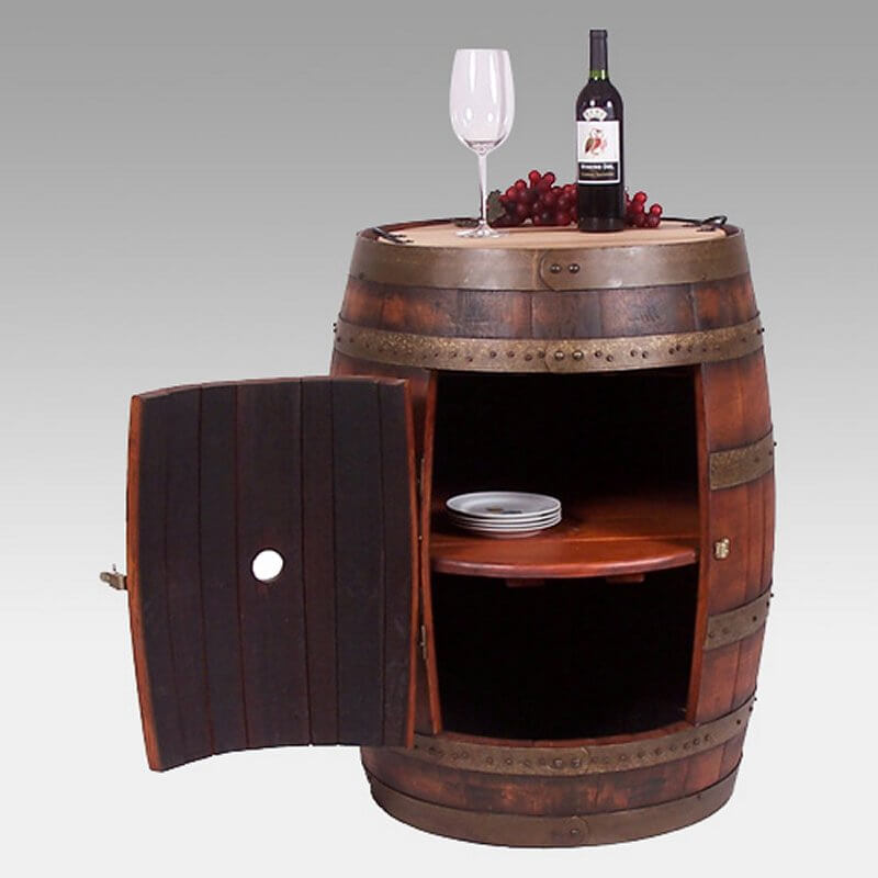 "Here's a fun ""barrel bar"" unit that's perfect for a wine cellar tasting room, rustic family room or finished basement."
