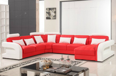 Red And White Modern Sectional Sofa
