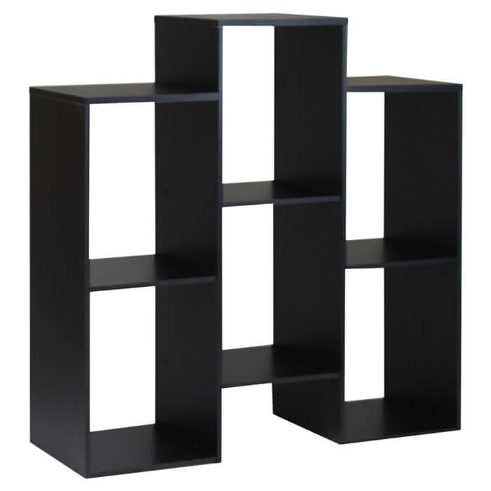 This is a 6-cube staggered shelving unit. It's design is staggered vertically.