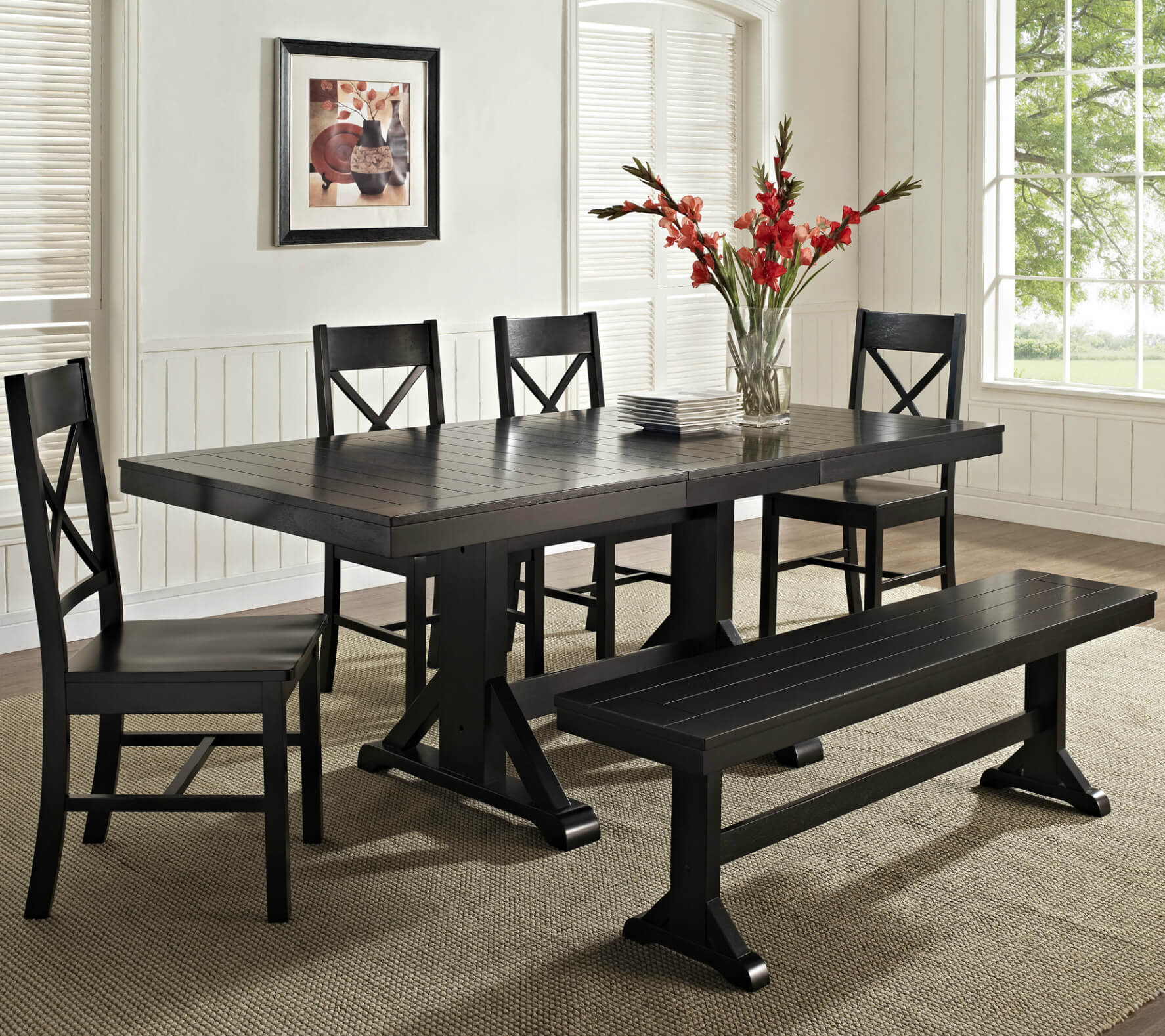 Here's a great cottage style dining set with bench. While it's a dark finish, the lines give it a whimsical look that fits well in a cottage or coastal style home.