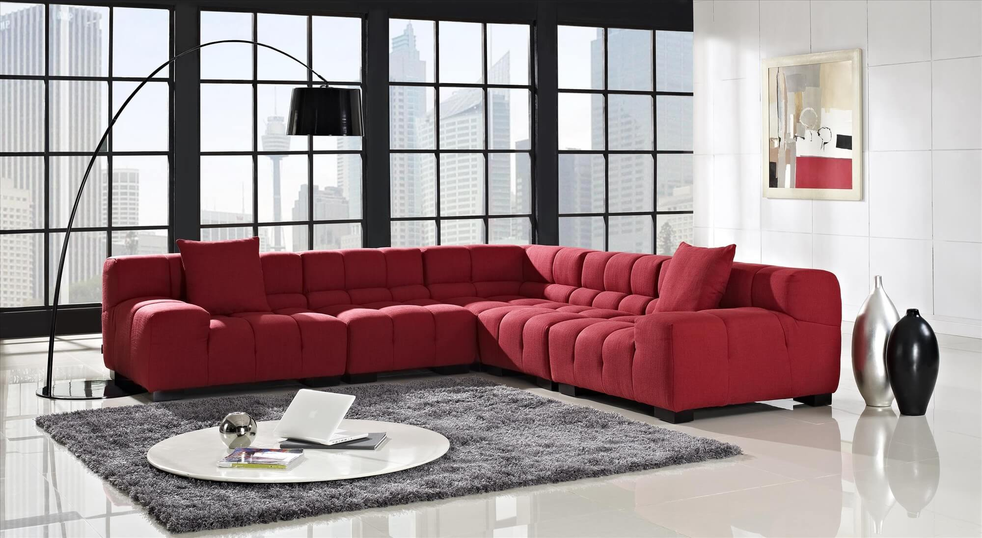 This solid wood frame red woven fabric sectional offers a tufted upholstery pattern. Seating is firm yet comfortable with high density foam.