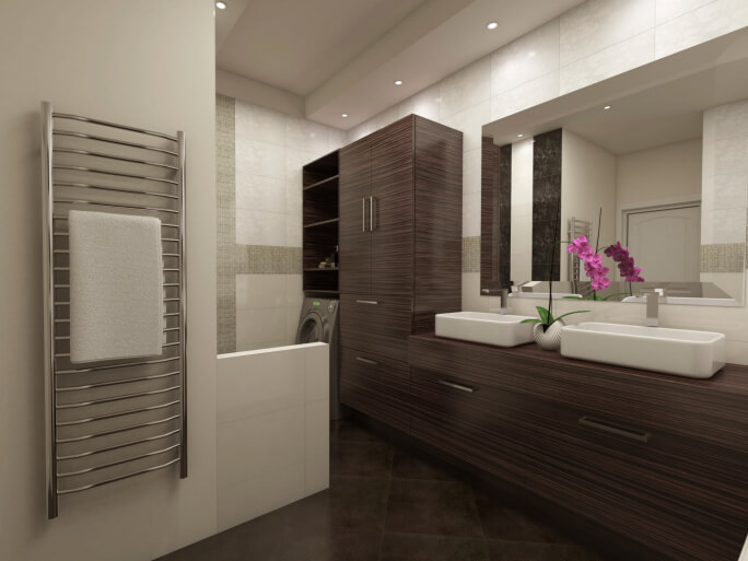 High contrast bathroom pairs dark wood vanity and cabinetry with white tile and stainless steel appointments. Dark tile flooring matches wood tone throughout.