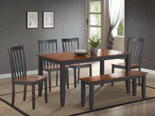 2-tone dining set with bench The chair seats, table top and bench seat is natural wood with the legs and chair backs grey. FYI - the seats and table top constructed with medium density fiber board (MDF).