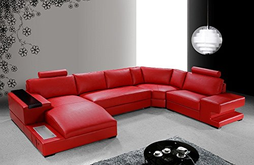 This is a terrific red U-shaped section for an entertainment room.