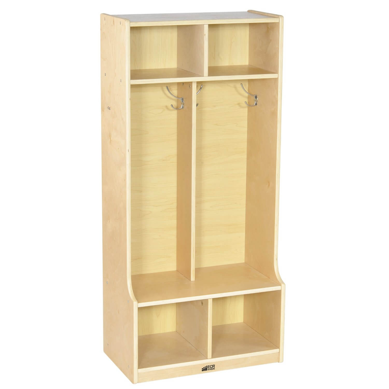 This is a basic, inexpensive, natural wood mudroom open storage unit with a small sitting bench on the bottom.