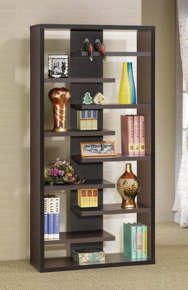 This Is A Staggered Dark Brown Modern Cube Style Vertical Bookshelf That Creates Pleasing