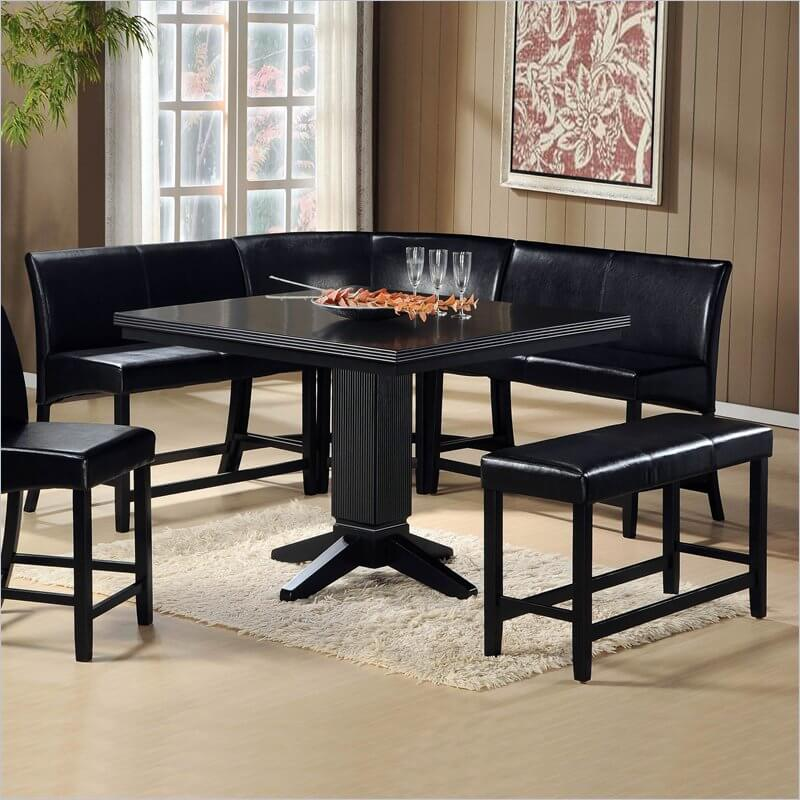 This Sleek Black Corner Dining Set Works As A Free Standing Unit Or Can