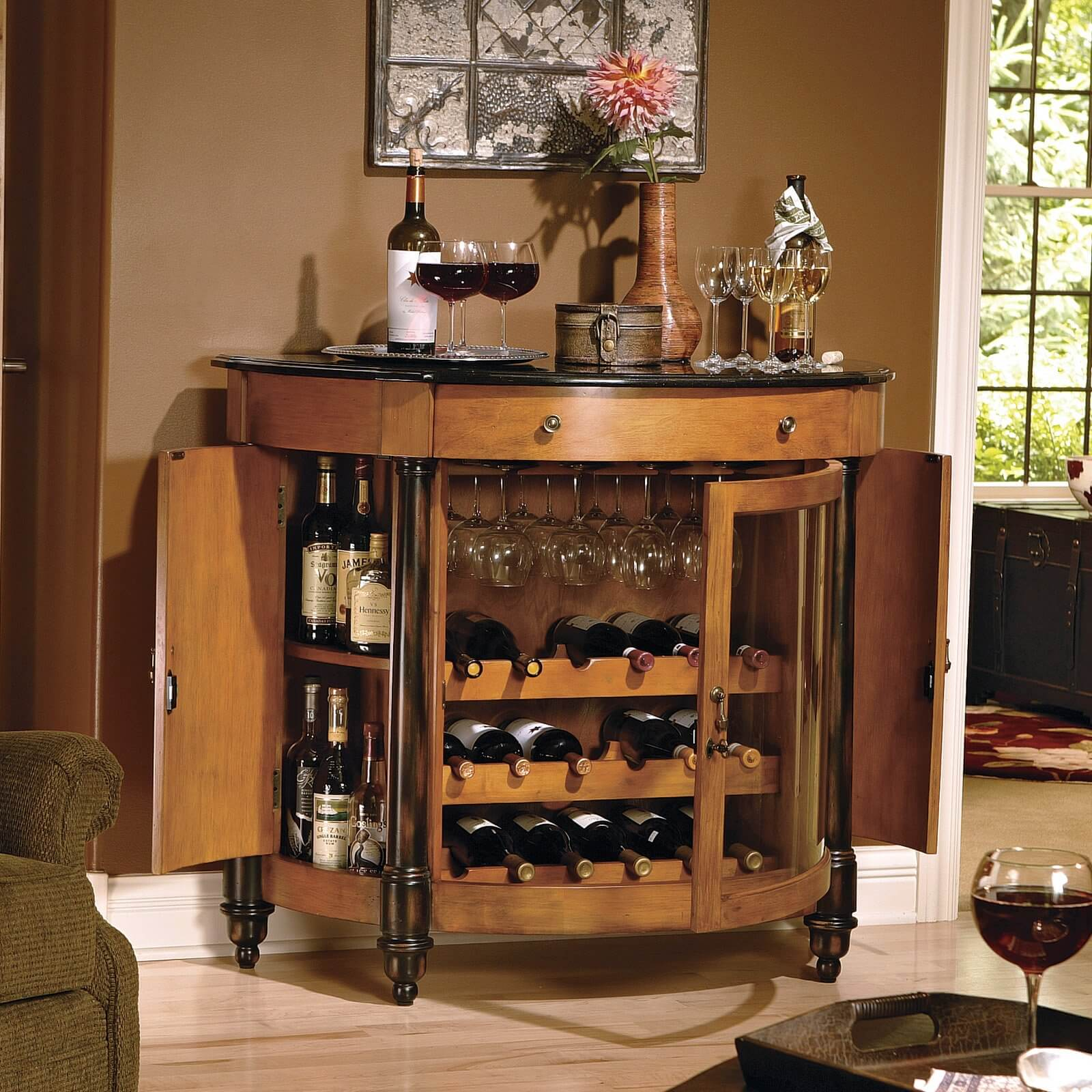 hereu0027s a home bar for wine lovers with itu0027s 18 bottle wine rack