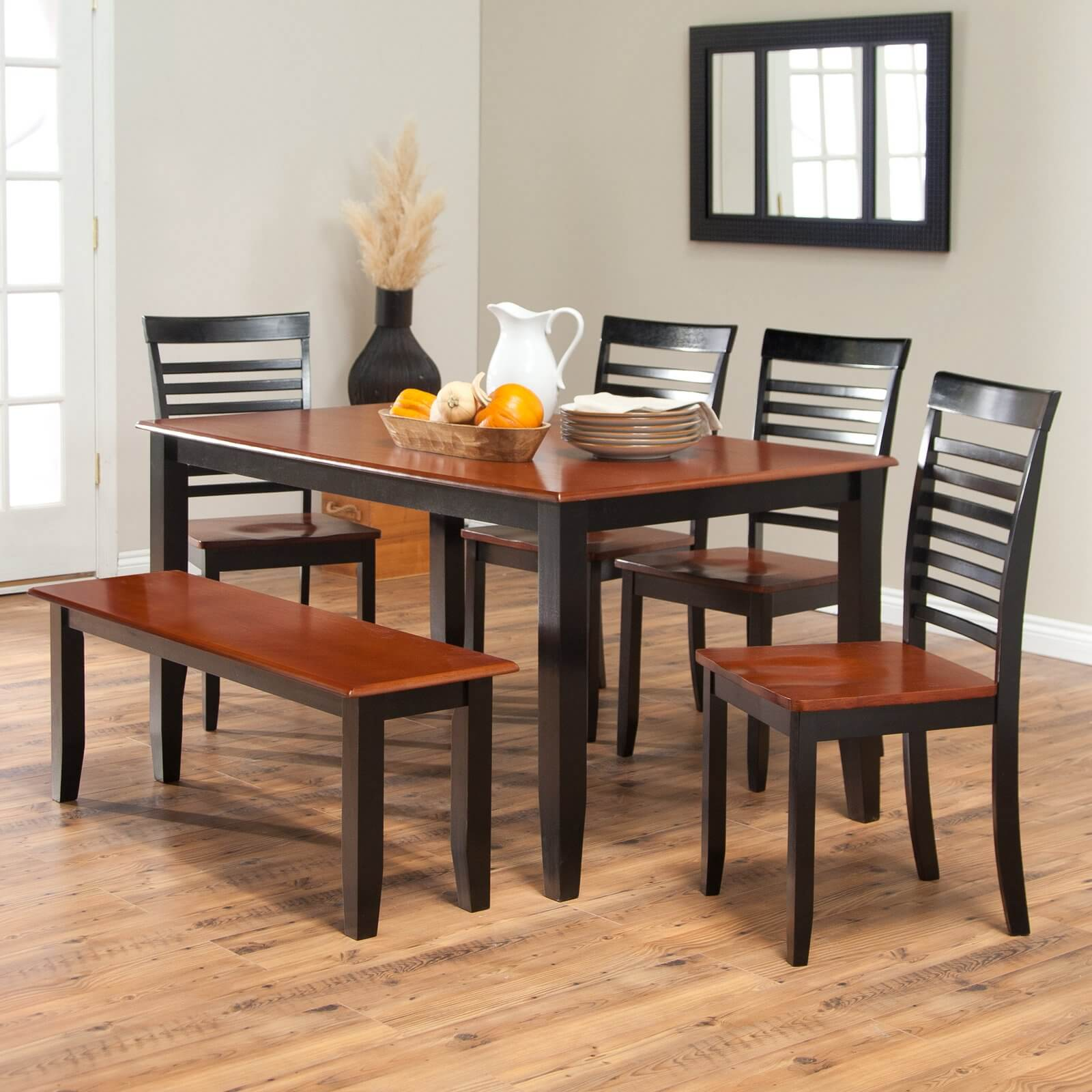 Simple Two Toned Dining Set With Bench. The Seats And Table Top Are Cherry