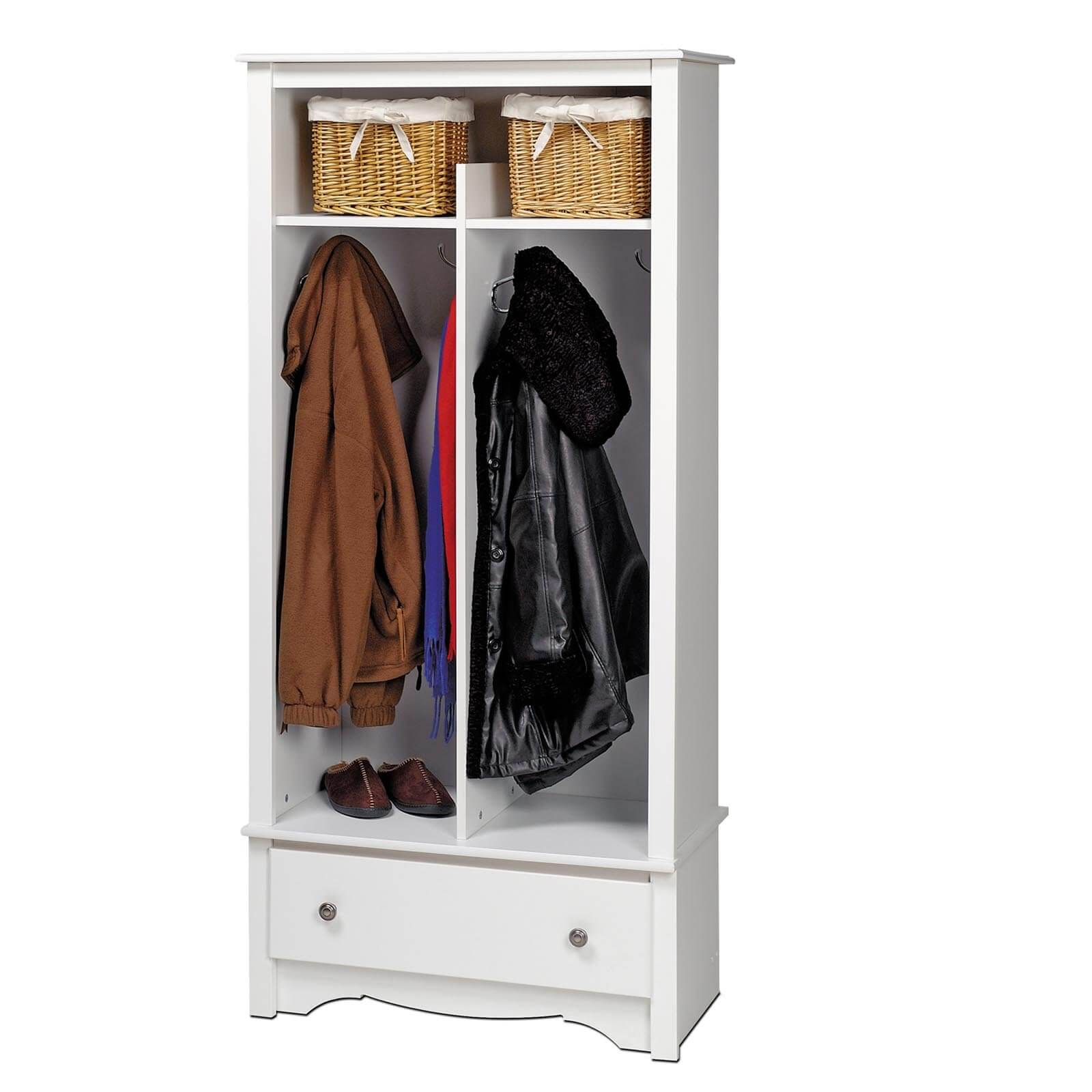 Here's white mudroom storage unit that's somewhat decorative and would look good in a home's main entrance hall. At 69 inches in height, it's fairly tall, but will fit under all ceilings. It includes 2 sections which can be shared while offering decent organization of shoes, coats, bags, etc.
