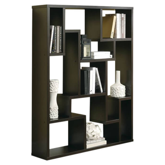 This is another decorative modern 9-cube shelving unit where each section  is a different