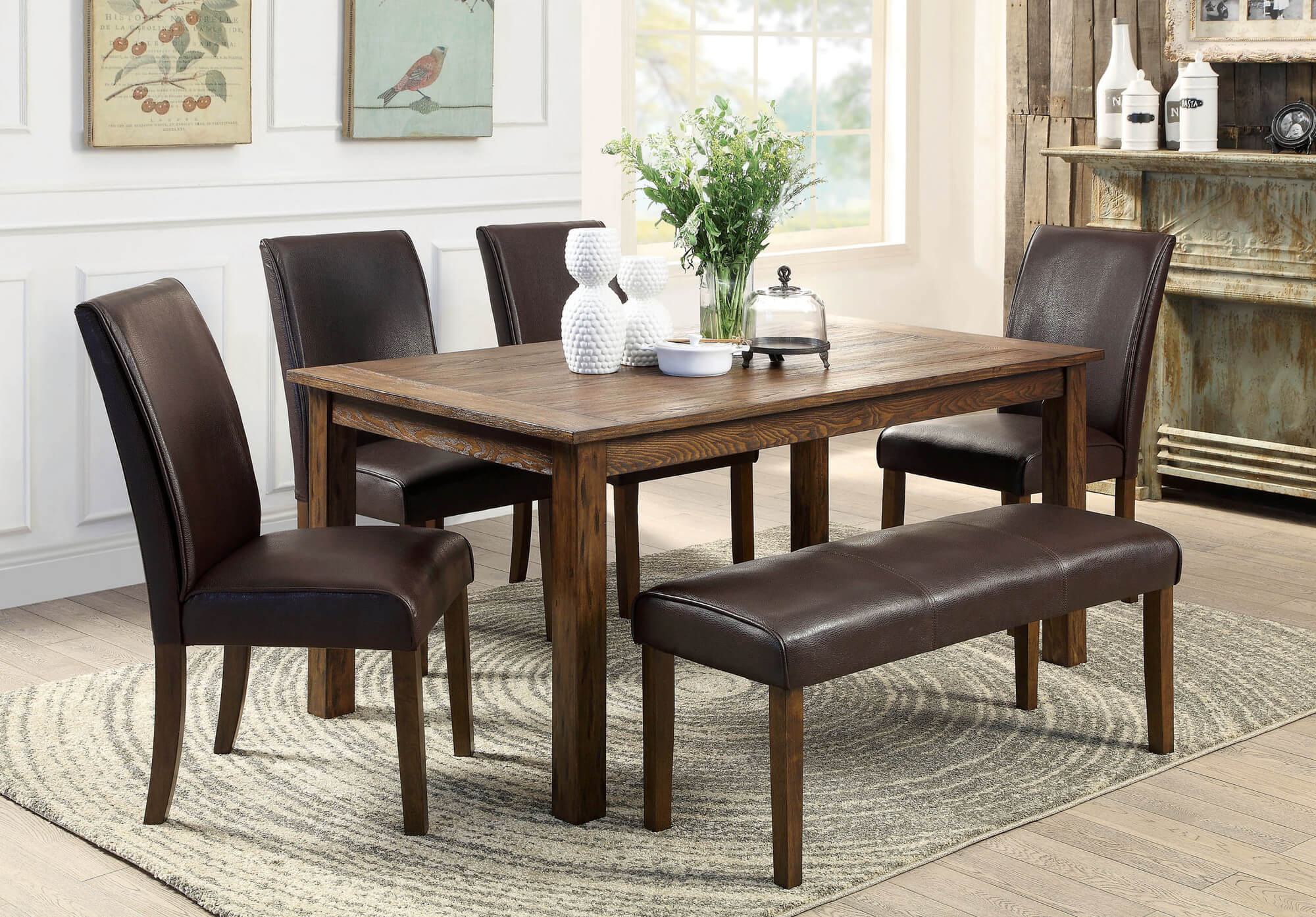 dining room sets bench seating square kitchen tables Here s a rustic rectangle dining table with fully cushioned chairs and bench This look works