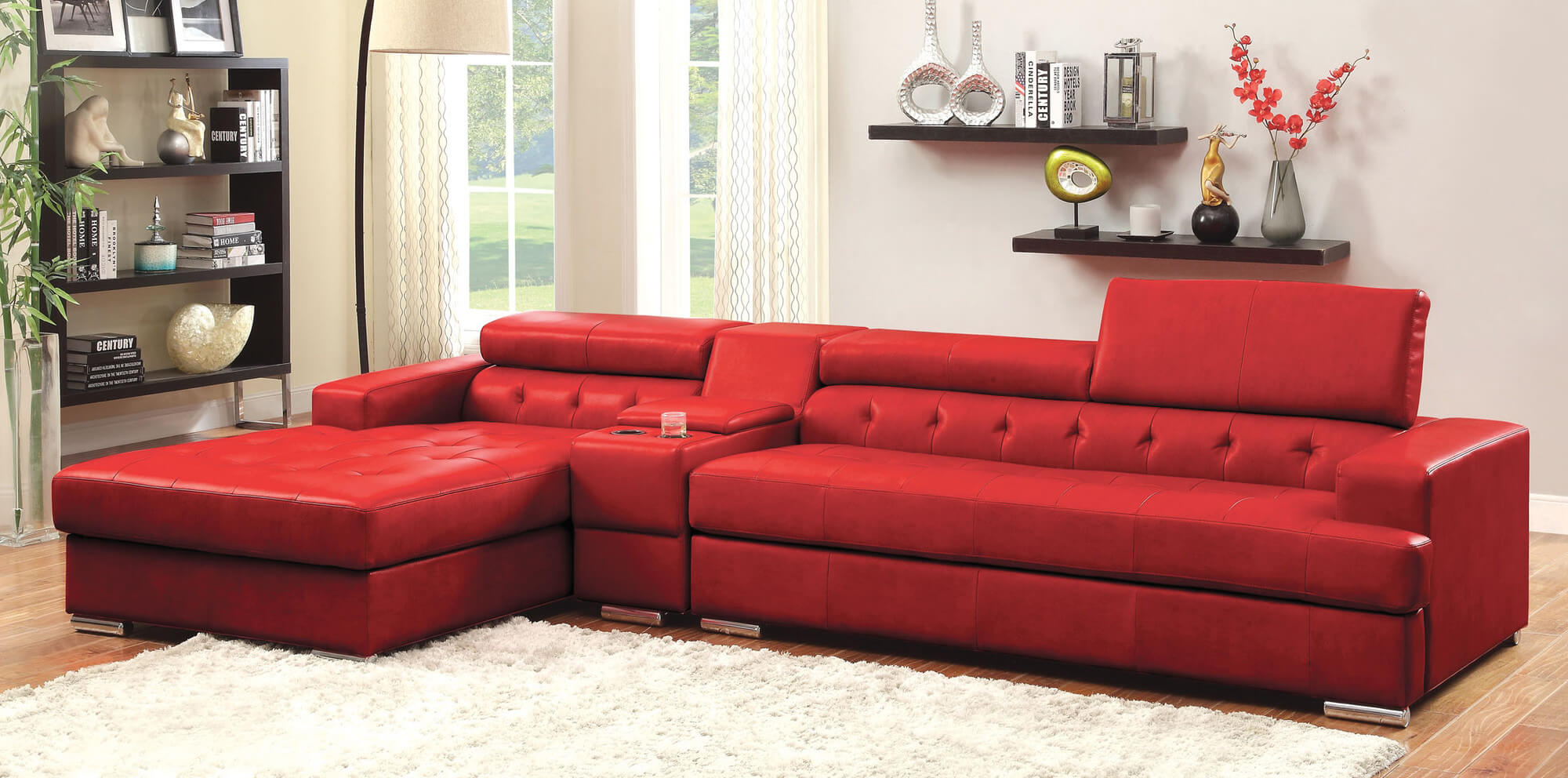 This chaise modern sectional is much like the Hokku above except it includes a console separating the chaise section from the main sofa arm. Like the one above, it includes an adjustable head rest.