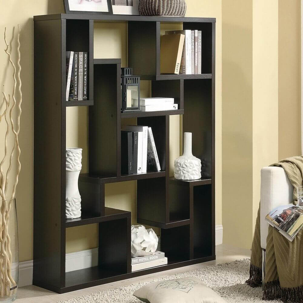 Decorative 9-cube bookcase and shelving unit.