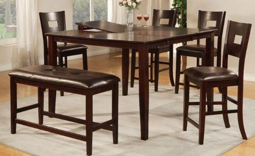 Counter height bar-style dining table with four chairs and one cushioned bench with a chocolate finish. Very good customer reviews and feedback about this set.
