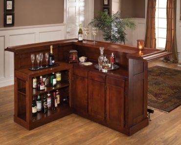 Beautiful L-shaped wood home bar