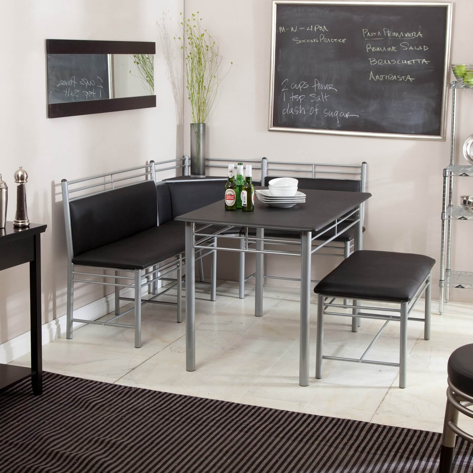 this a different breakfast nook style in that the frame is powder coated metal and - Metal Kitchen Table