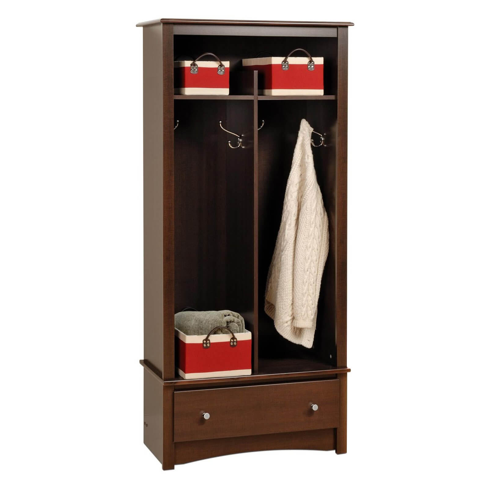 Here's a decorative mudroom locker that could easily work well in a more formal foyer. It's 2 sections includes decorative hooks. The bottom drawer offers additional concealed storage. It measures 32 inches wide, 16 inches deep and 69 inches in height.