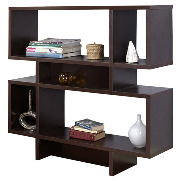A 6-cube chocolate brown wood cube shelf.