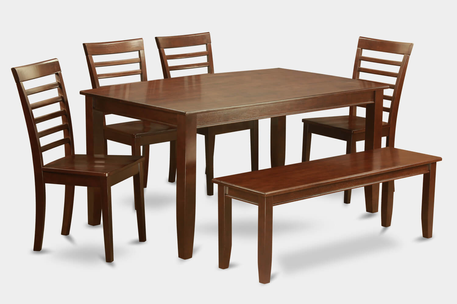 heres another solid asian wood dining set with bench in a traditional style its a - All Wood Dining Room Table