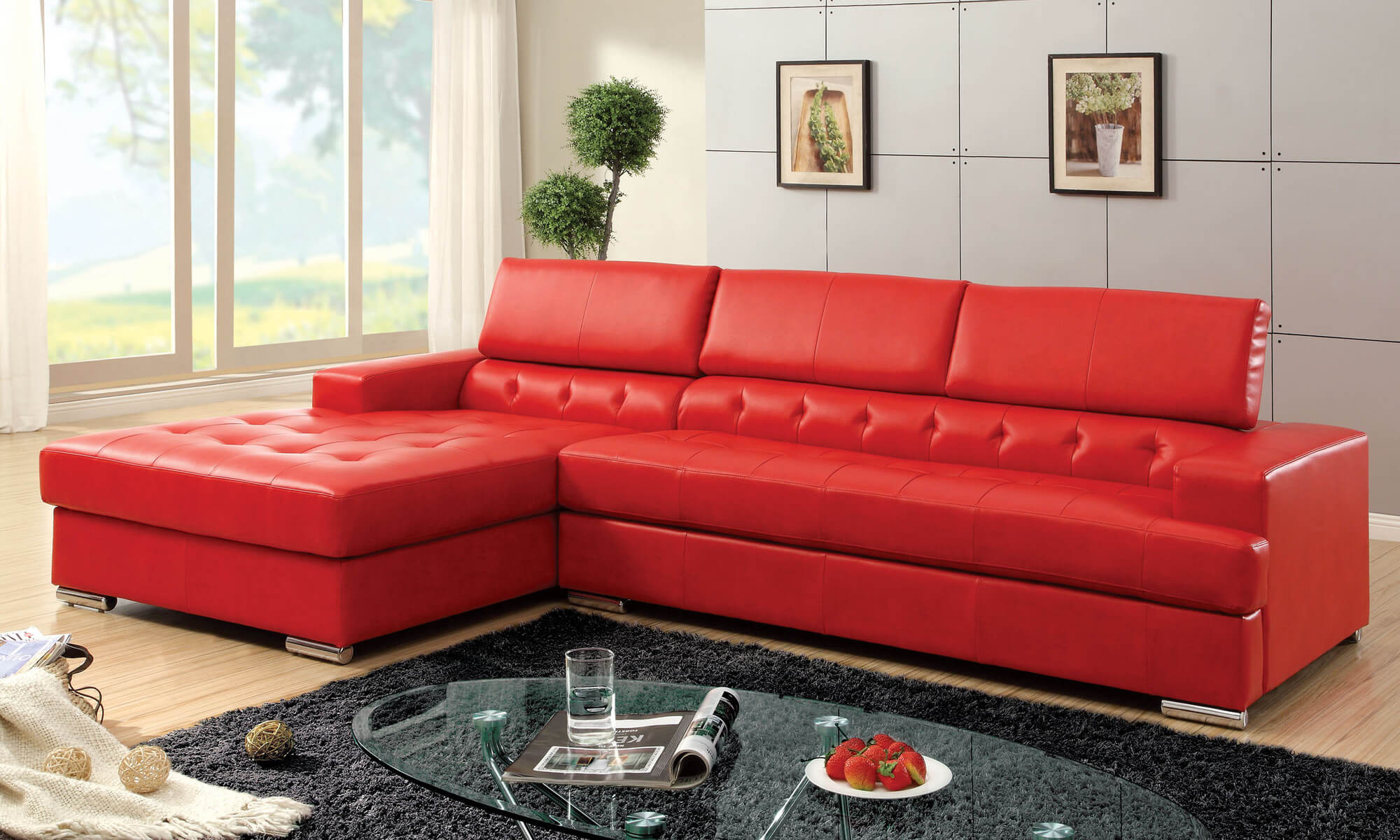 Hokku designs red leather sectional with partially tufted upholstery