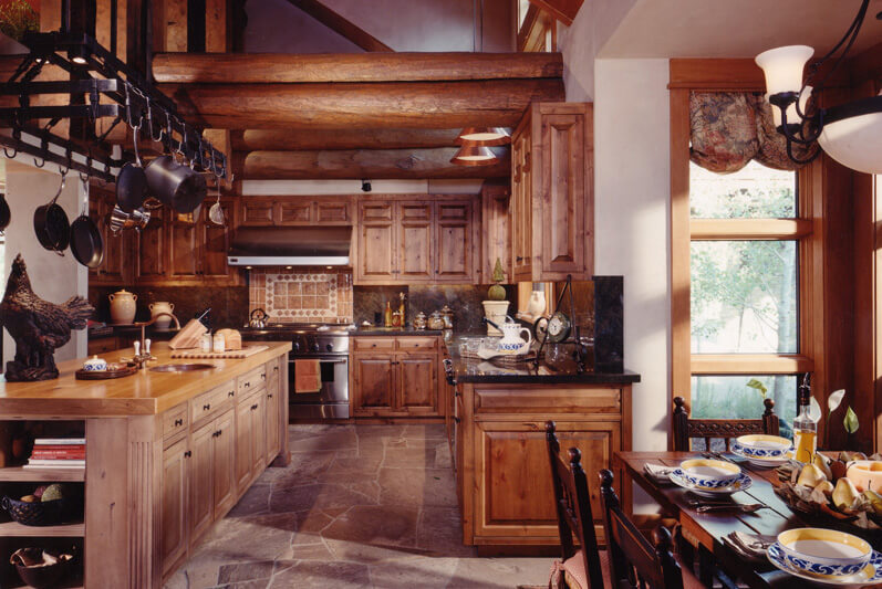 Here S Another Rich Rustic Kitchen Pairing Exposed Log Style Beams With Matching Tone