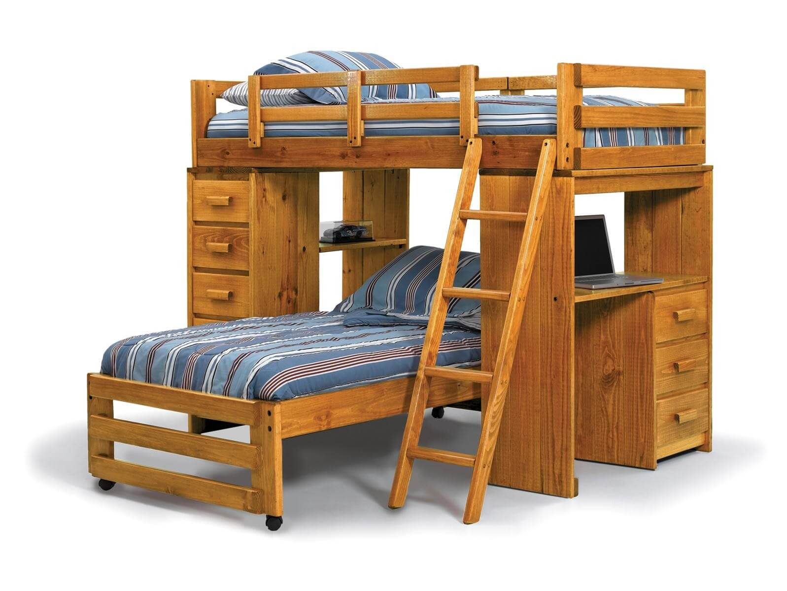 f3f2ef106f317 This pine L-shaped bunk with twin-over-twin includes a desk area