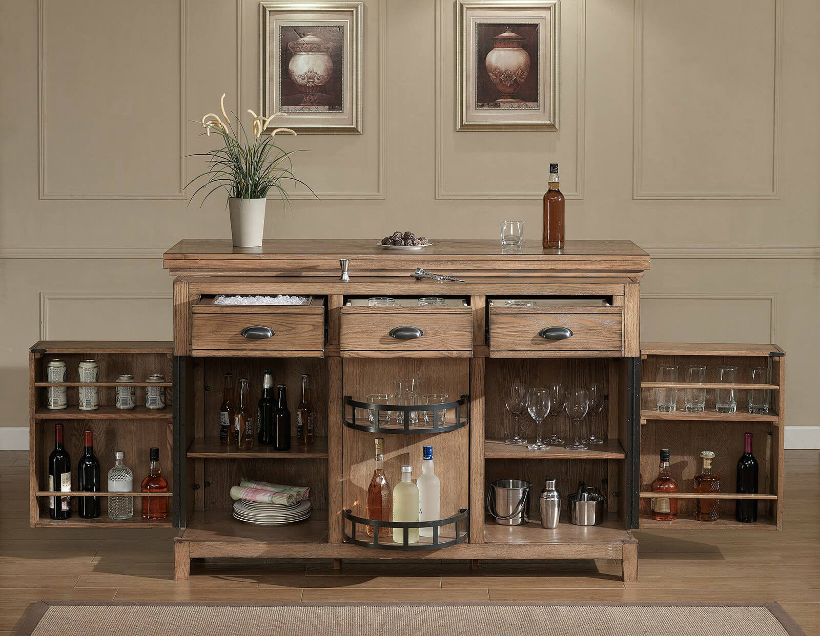 as you can see the amount of storage in this rustic home bar cabinet unit