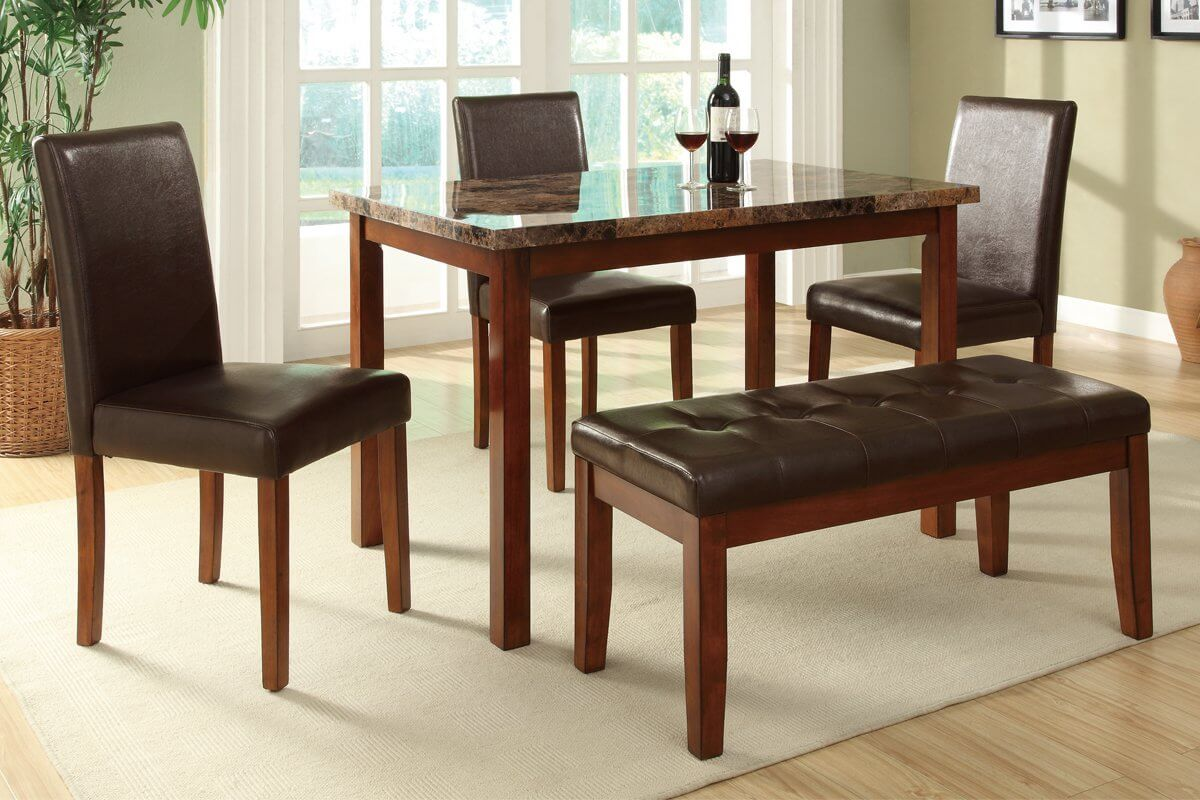 This is a bench dining set for a smaller space. The small rectangle table accommodates 3 chairs and one bench that can seat 2 people. The table top is faux marble. Another nice feature is the price - it's priced well under $400 (at the time this collection was published).