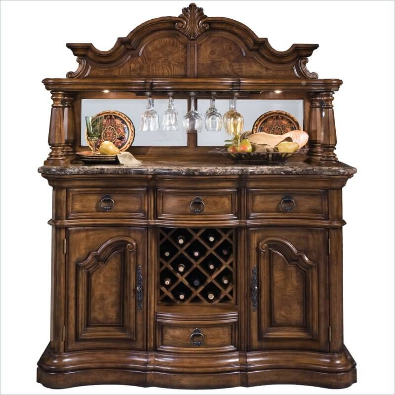 Small Elegant Bar Cabinet With Antique Brass Hardware