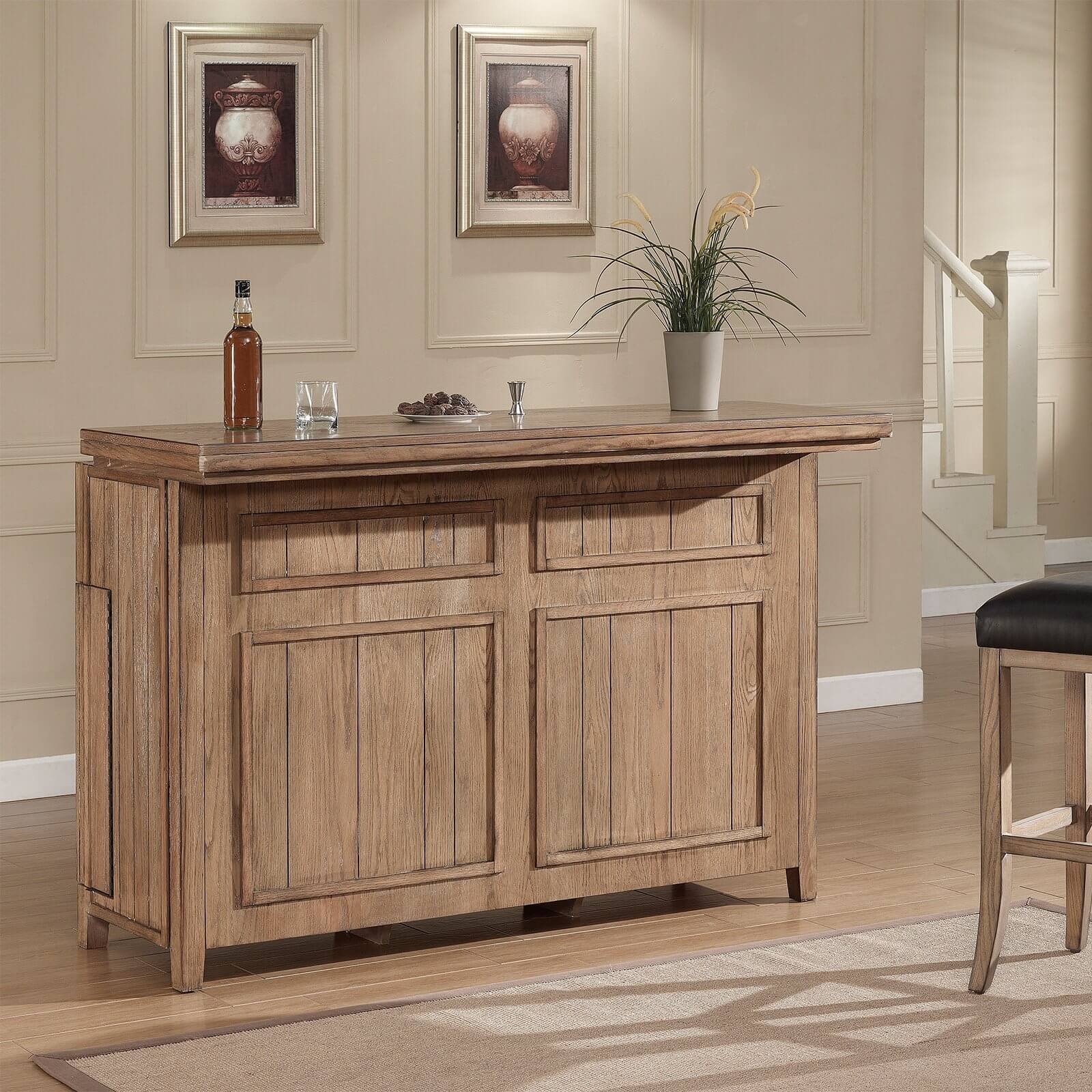Weathered oak bar cabinet