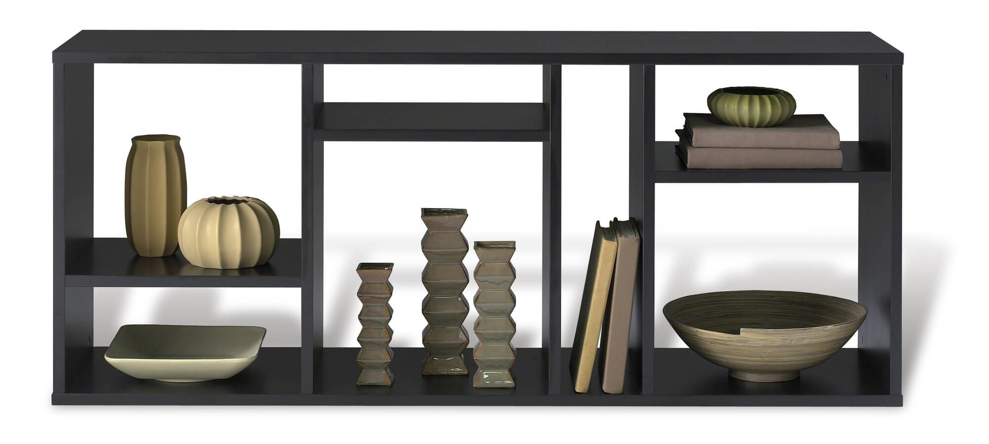 I like this asymmetric horizontally oriented 6-cube modern shelf. The varying sized and shaped cube sections create a more artistic style storage unit. It stands 30 inches tall and is 72 inches wide.
