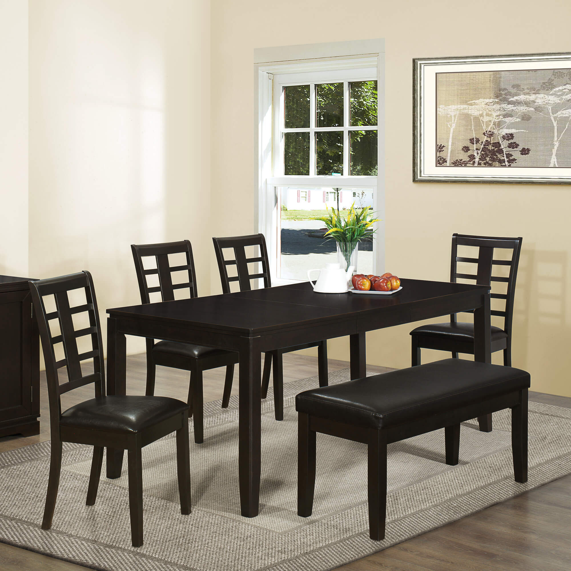 Contemporary Asian Inspired Dining Set With Bench Is A Good Size Being Able To Accommodate