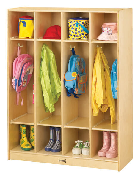 This is a great wooden entry hall storage unit because it's 4 sections. Many are either 2 or 5, so this is a nice middle-of-the-road option. There are the standard 3 open levels (shoes, coats and upper storage).