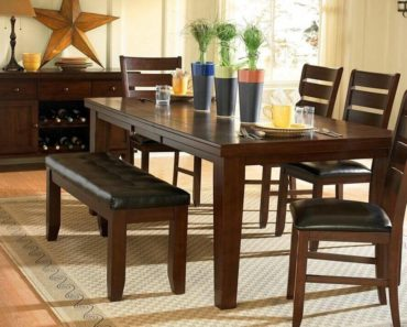 Country style dining room set with bench