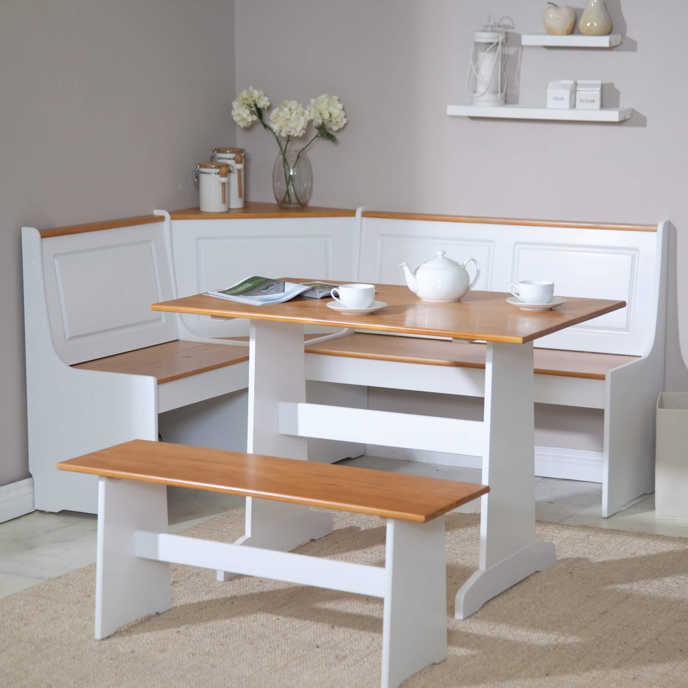 Space saving dining furniture - This Three Piece Breakfast Nook Can Help Brighten Up Your Space Or Fit In Nicely With