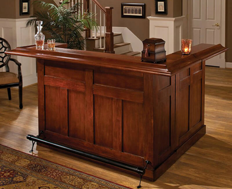 L Shaped Cherry Home Bar