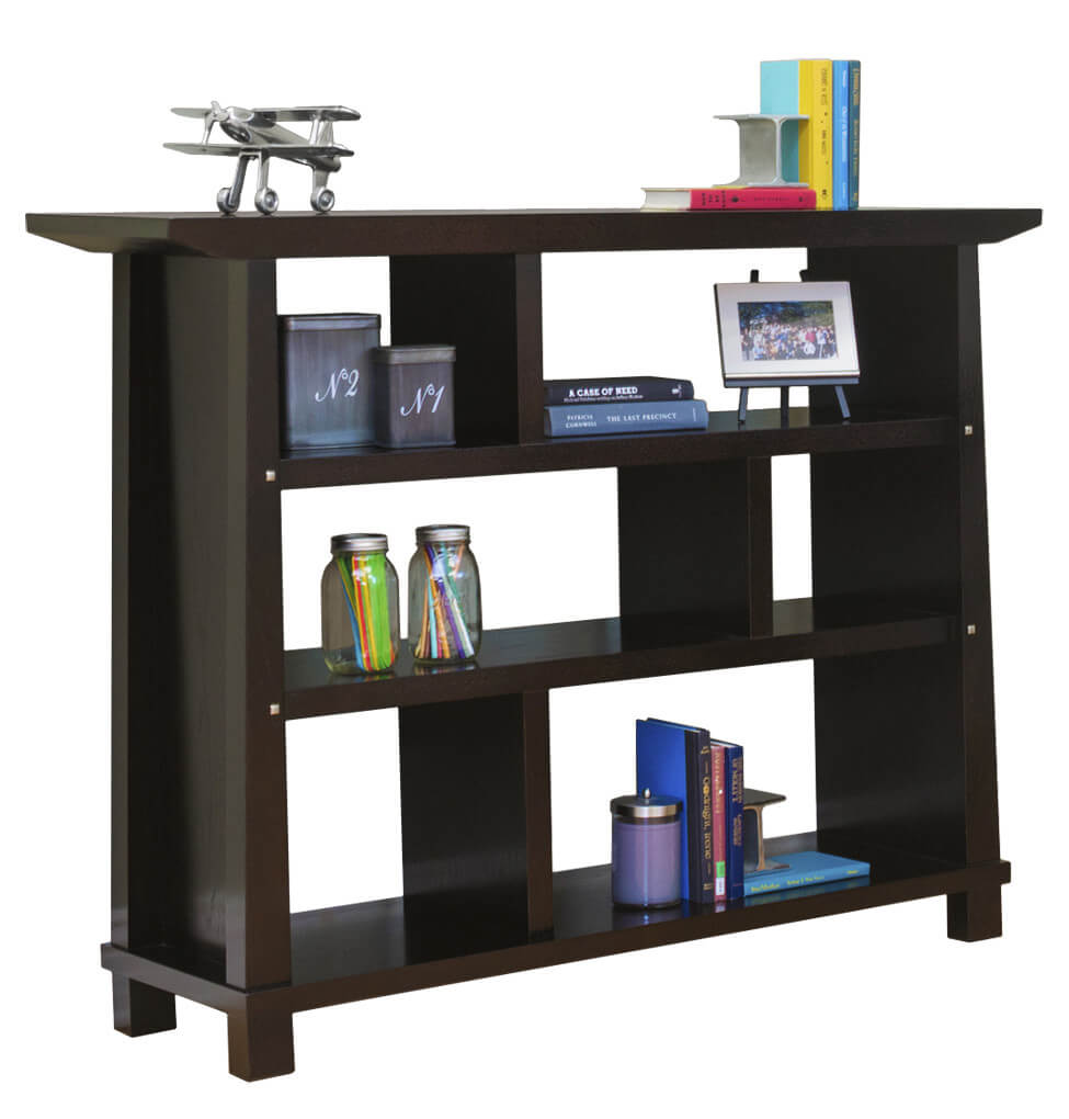 This is an elegant dark brown wood 6-cube shelf perfect for the living room, bedroom or as a side-stand in a dining room. It's also a great storage unit in a home office.