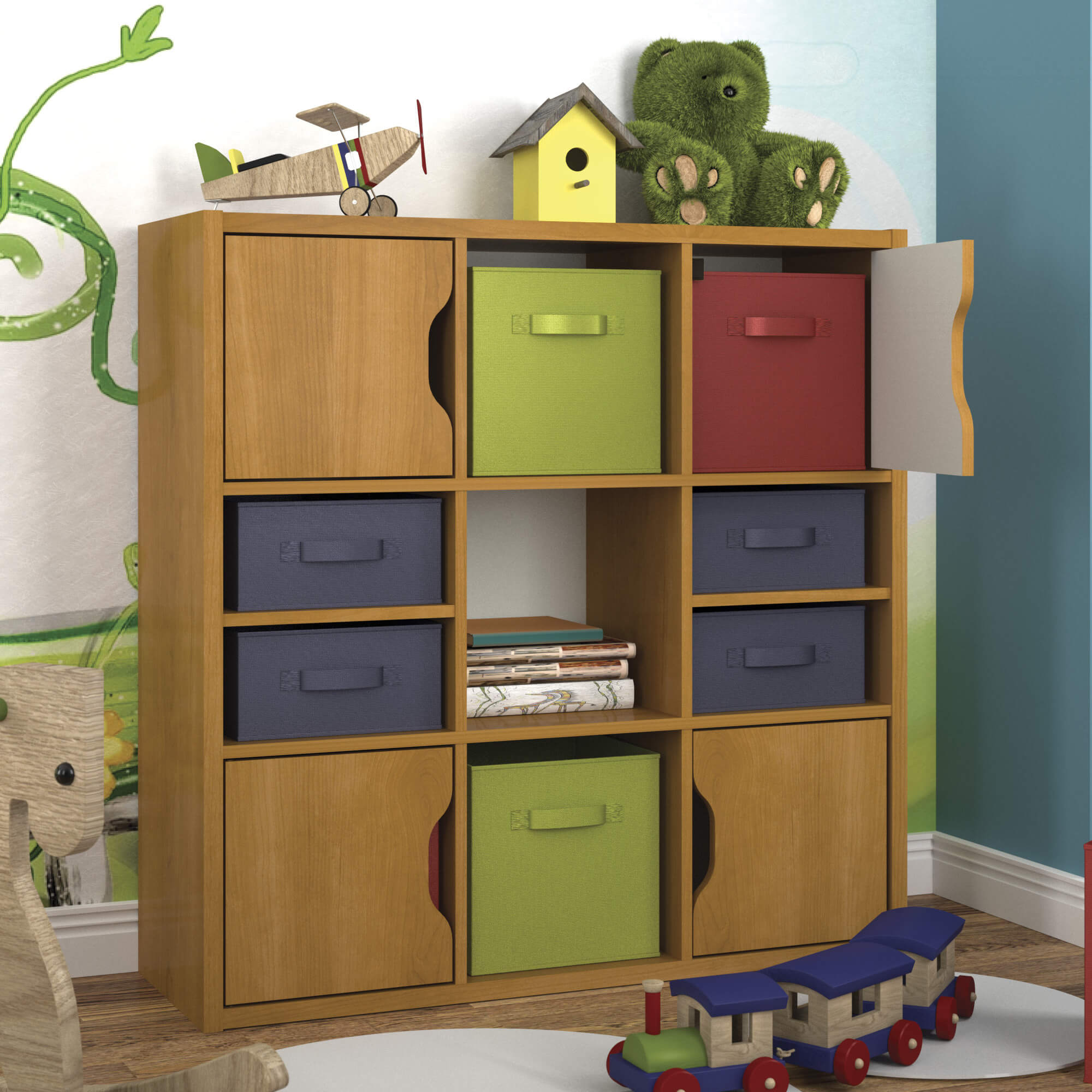 Here's another 9-cube shelf using colorful drawer inserts creating a fun shelving unit perfect for a kid's bedroom.