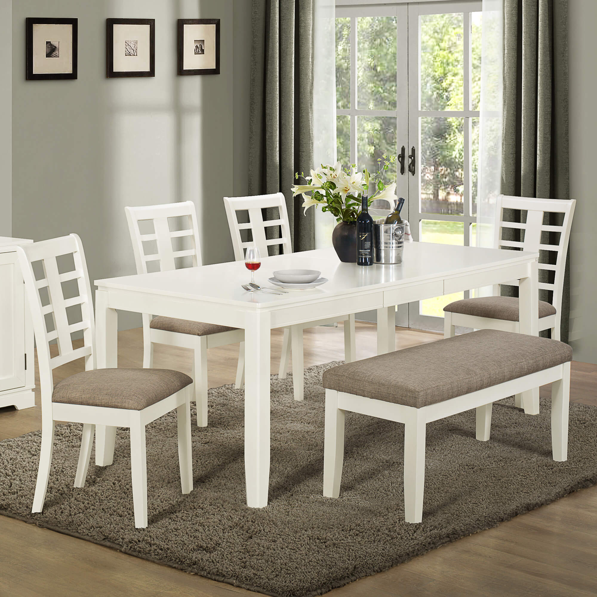 Built With Solid Wood And MDF Board, This White And Grey Dining Set With  Bench