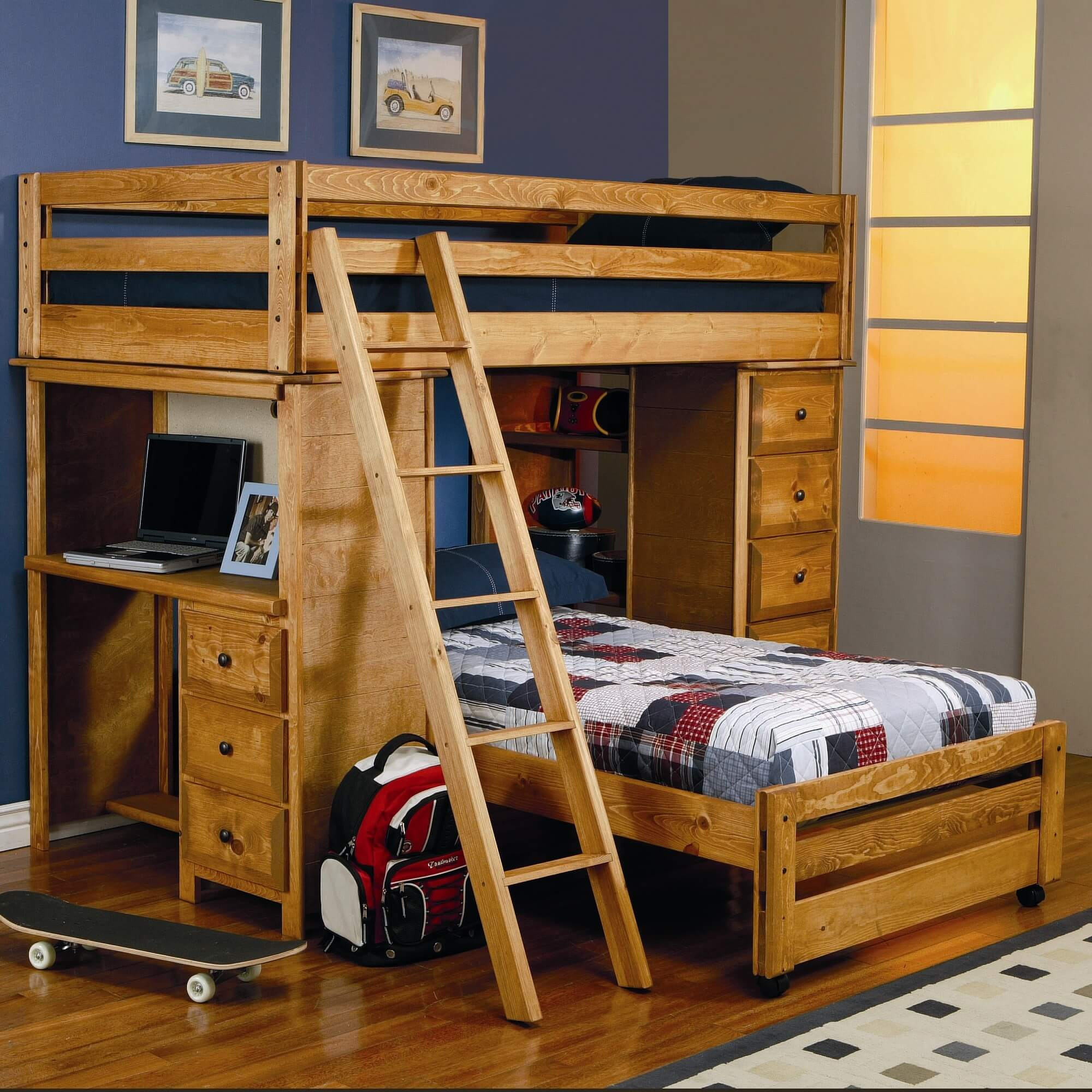 Awesome wood l-shaped bunk bed with desk and ladder.