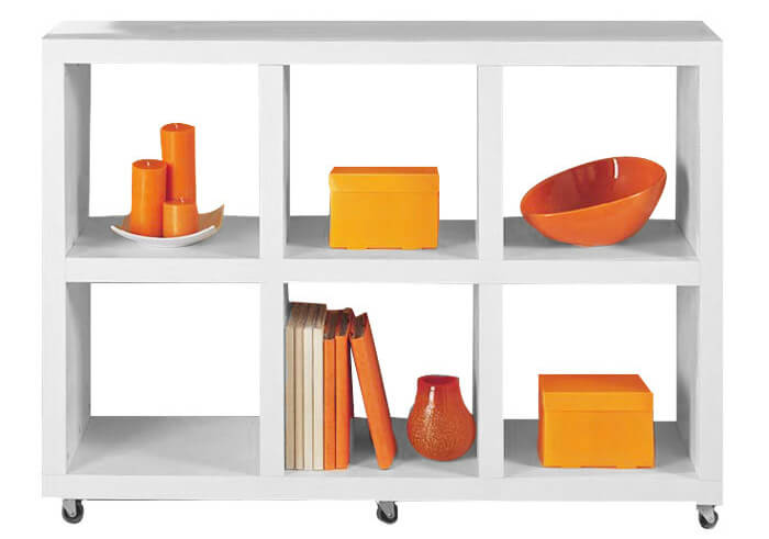 Here's a symmetrical 6-cube shelf on wheels which makes it a terrific storage unit for the kitchen since it can easily be moved around.