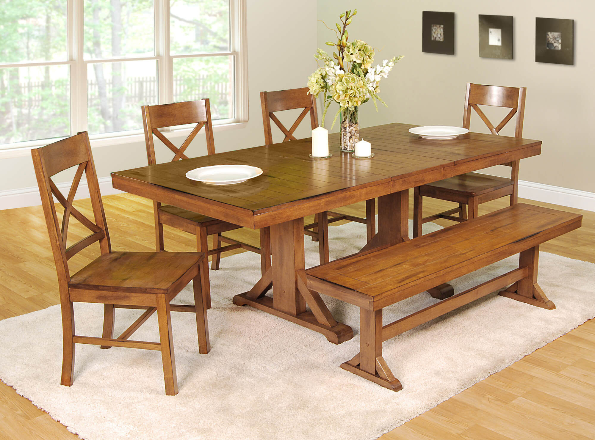 this dining room set with bench is going for the antique look with an antique brown - Country Dining Room Design