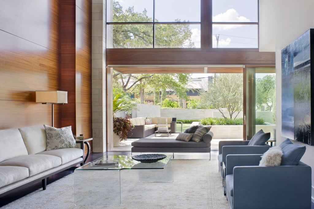 Lush Tones Throughout This Living Room, Fully Open To The Patio By Sliding  Glass Panels Part 36