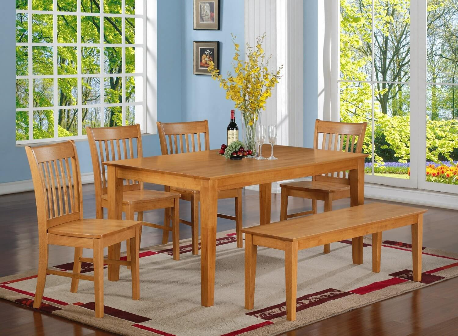 oak finish six piece bench style dining room set with large rectangle table its - Dining Room Table With Chairs And Bench
