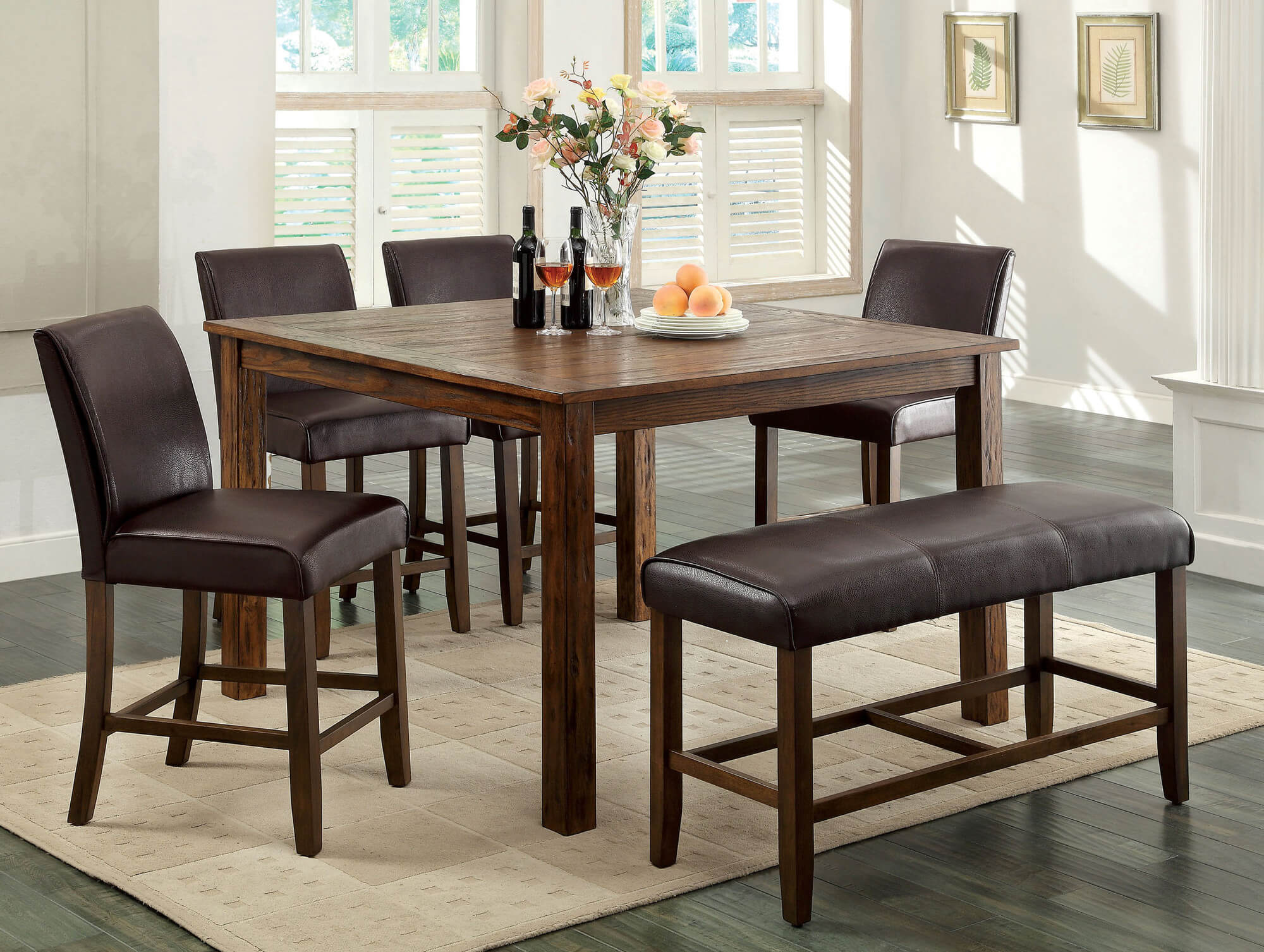 Counter Height Rustic Dining Room Set With Bench. Wood Is Dark Oak Finish;  Constructed