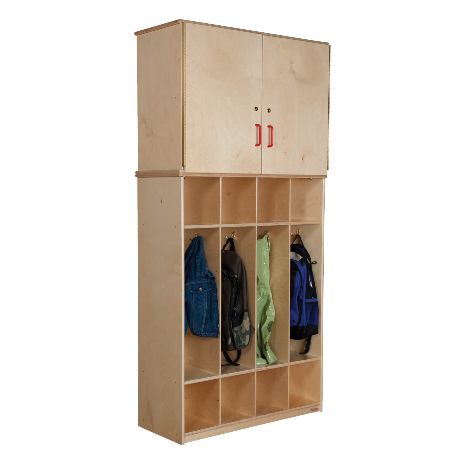 This is an interesting hybrid unit with kids' height lockers topped with a storage cabinet. It's not the most aesthetically pleasing, but it's great for storage. It's very tall standing 74.5 inches tall.