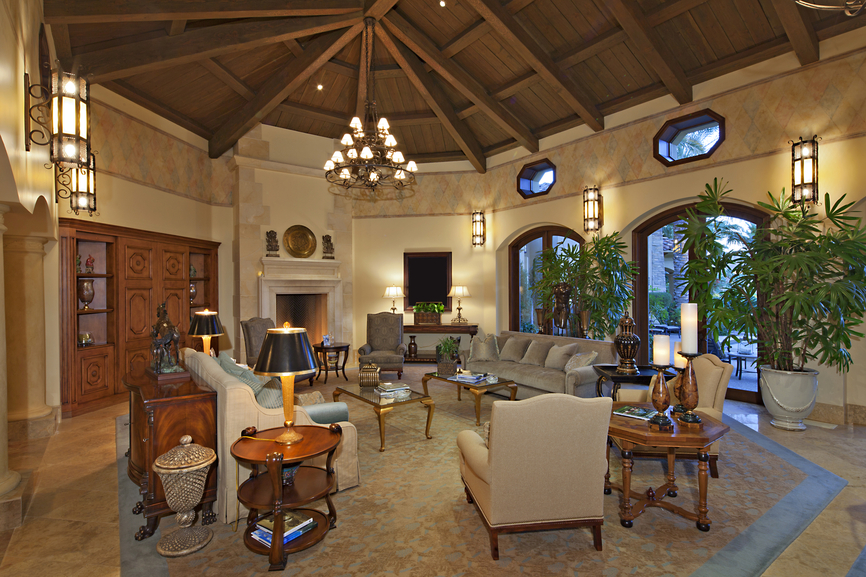Living Room With Soaring All Wood Ceiling