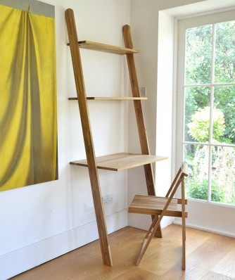 Leaning ladder shelf and desk