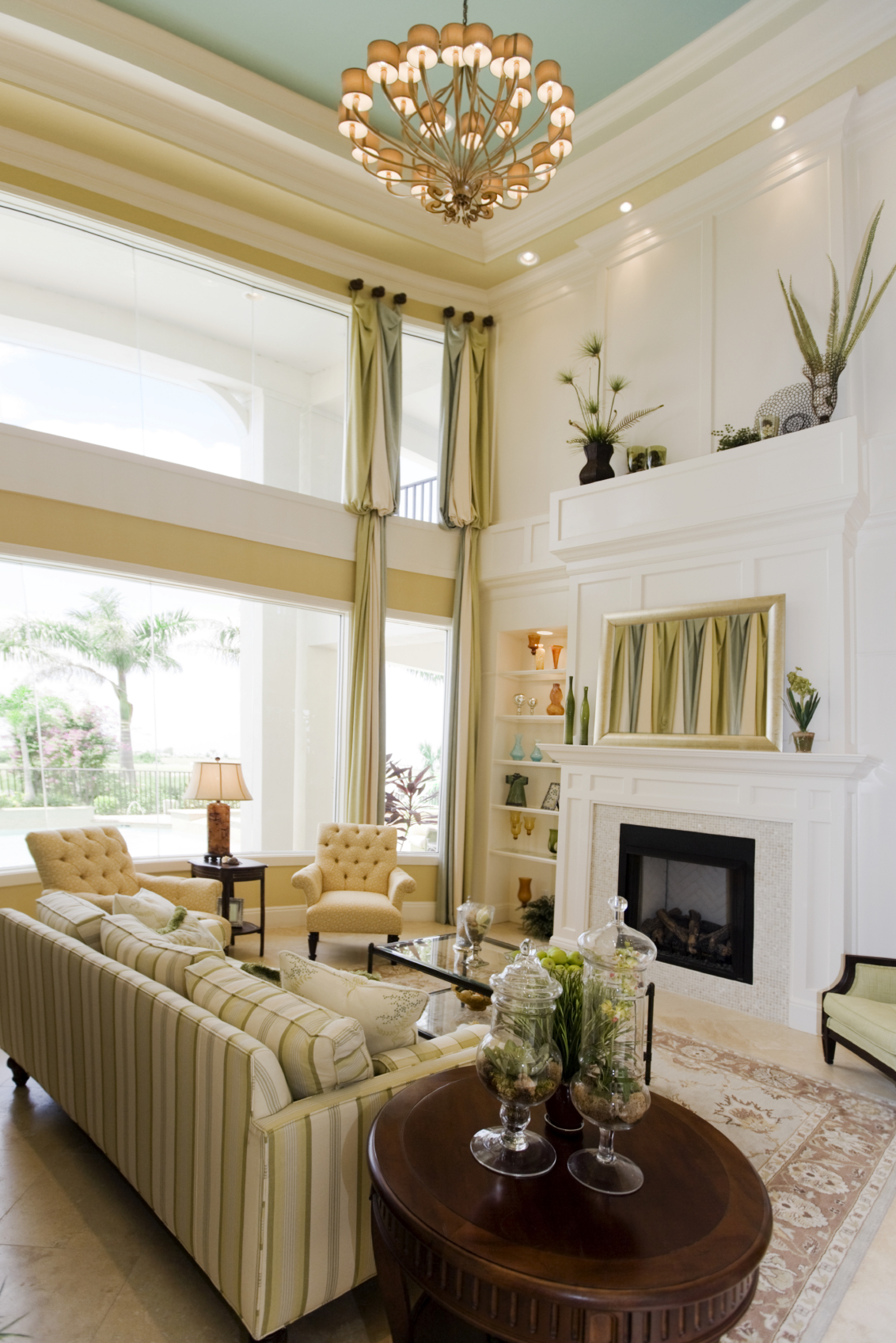 2 Story Great Room Decorating Ideas Part - 19: Bright Yellow And White Color Scheme Of This Living Room Helps Natural  Light Illuminate The Large